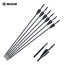 6/12/24pcs 30 inches Fiberglass Arrow For Hunting Shooting Spine 800  Black&White Feather OD 6 mm Compound Recurve Bow