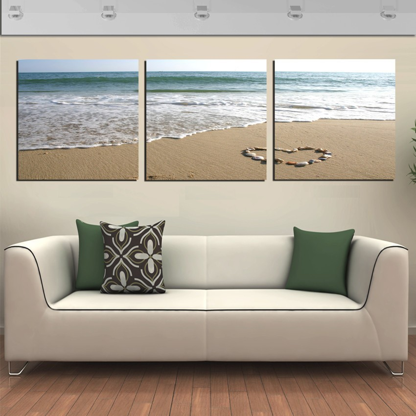 3 Piece Wall Art Pictures Romantic Beach Lovely Stone Sea Scape Painting On Canvas