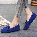 100% Mulheres apartamentos Nova Marca de couro Feitos À Mão Das Mulheres de couro Ocasional Genuíno sapatos de Couro Das Mulheres Da Forma de Condução Mocassim Sapatos