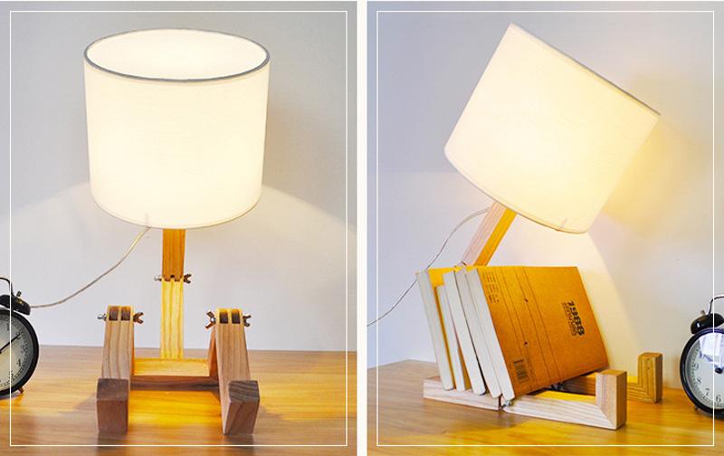 Nordice Modern Creative Gifts Foldable Robot Desk Table Lamps Wooden Base Table Lamp Bedside Reading Desk Lamp Home Decor Light Fixture (9)