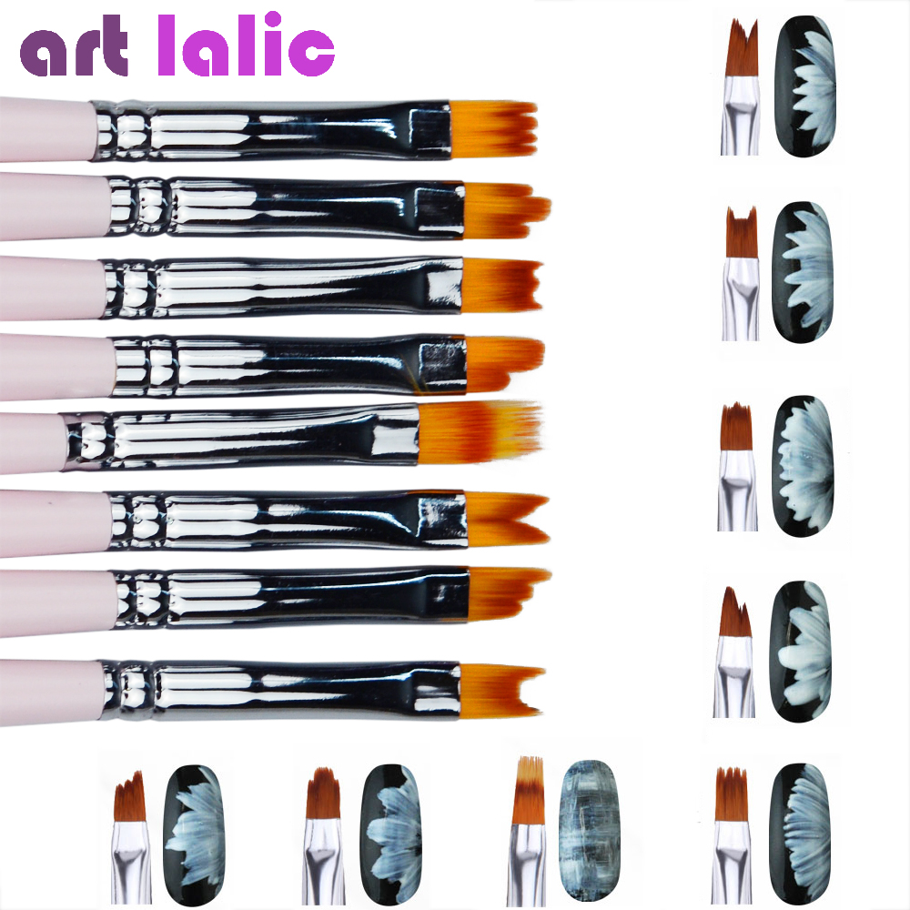 8pcs/lot Smile Moon Shaped Acrylic French Nail Art Brush Set UV Gel Polish Gradient Color Tips 3D DIY Painting Drawing Liner Pen цена