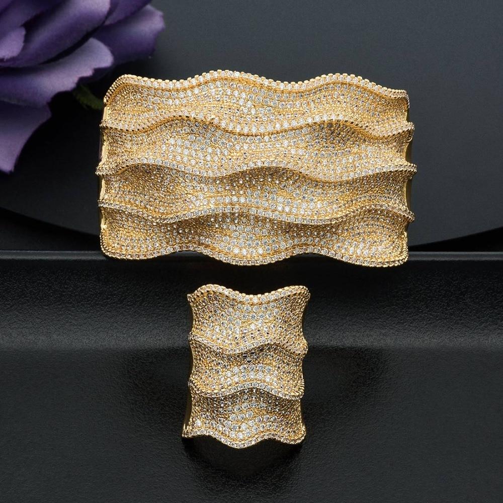 ModemAngel Mode Luxe Golven Super Glanzende AAA Zirconia Voor Vrouwen Bruiloft Baguette Armband En Ring Fashion Jewel-in Sieradensets van Sieraden & accessoires op  Groep 1