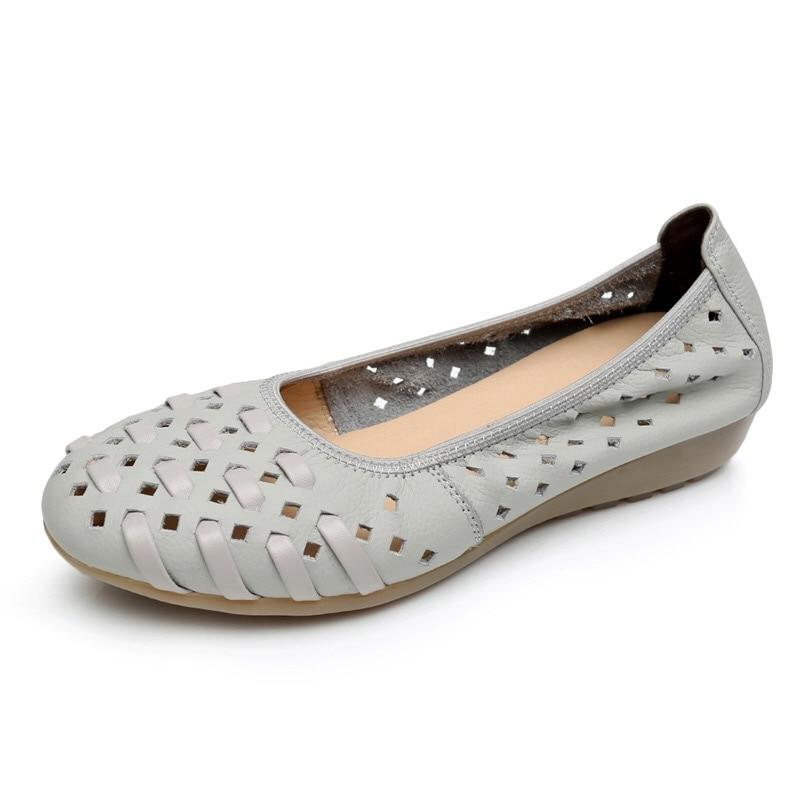 2018 обувь из натуральной кожи Для женщин модная обувь на плоской подошве Обувь с прорезями резиновая из натуральной кожи Удобные для вождени...