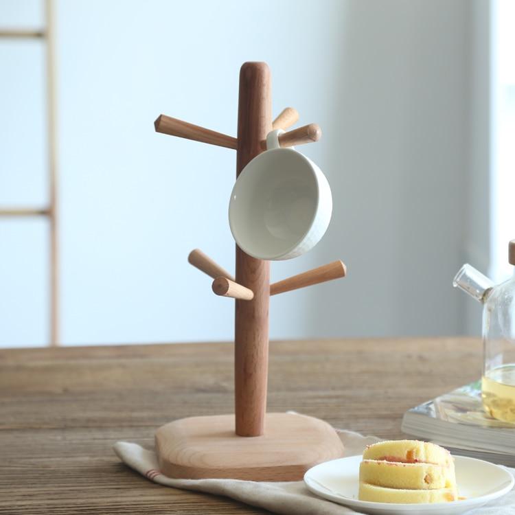 Japan Style beech kitchen accessories kitchen shelves wooden storage holders racks tea coffe cup drinkware shelf holder rack