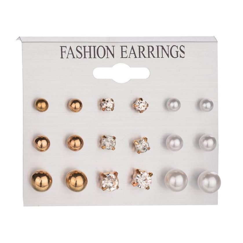 GEMIXI Fashion Earrings Ear Ring Set Combination Of 9 Sets of pearl and crystal 4.13