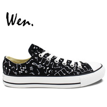 Wen Original Black Hand Painted Shoes Design Custom Music Notes Low Top Men Women s Canvas