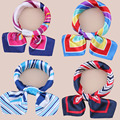 Hot Sale Brand Design Silk Square Scarf Neckerchief Printed Stripe/Plaid/Leopard Women's Hair Scarves Bandanas Headwear 50*50cm