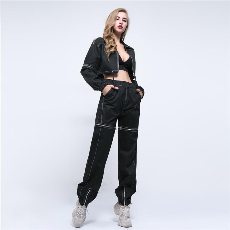 Streetwear Manteau Assortis Black Pièce Manches À Hip Hop Deux Ensembles Pour Spliced Set Noir Pantalon Mode Automne Ljj265 Top Zipper Femmes Longues AnXFq