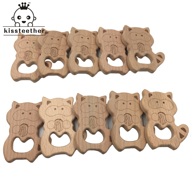 Beech Wooden Teether Cute Raccoon Baby Diy Jewelry Necklace Bracelets Accessories BPA Free Pendants Baby Teether