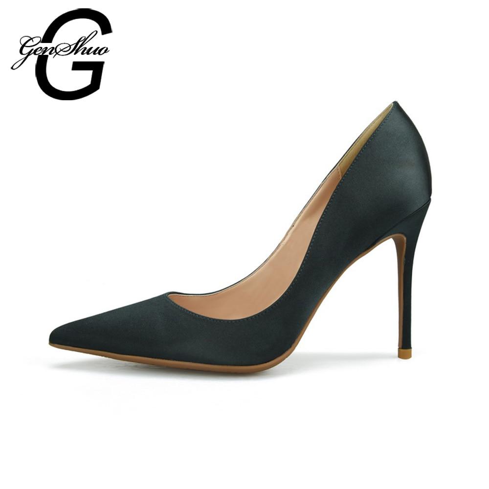 GENSHUO ハイヒールの女性の靴の女性は、ポインテッドトゥ小剣シルク赤結婚式の靴プラススモールビッグサイズ 32  46  グループ上の 靴 からの レディースパンプス の中 2