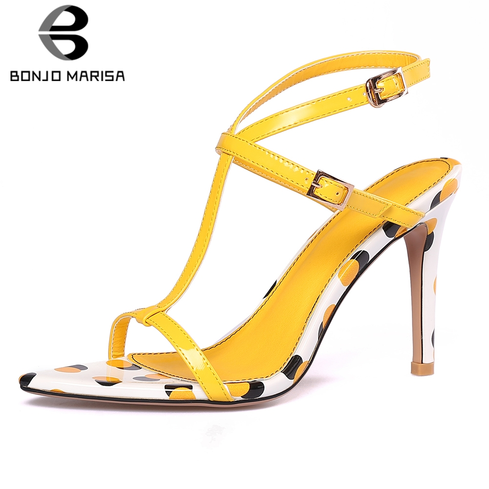 BONJOMARISA Fashion Pointed Toe Summer Sandals Woman Shoes High Heels Mix Color Patent Leather Party Wedding Shoes Woman SandalsBONJOMARISA Fashion Pointed Toe Summer Sandals Woman Shoes High Heels Mix Color Patent Leather Party Wedding Shoes Woman Sandals