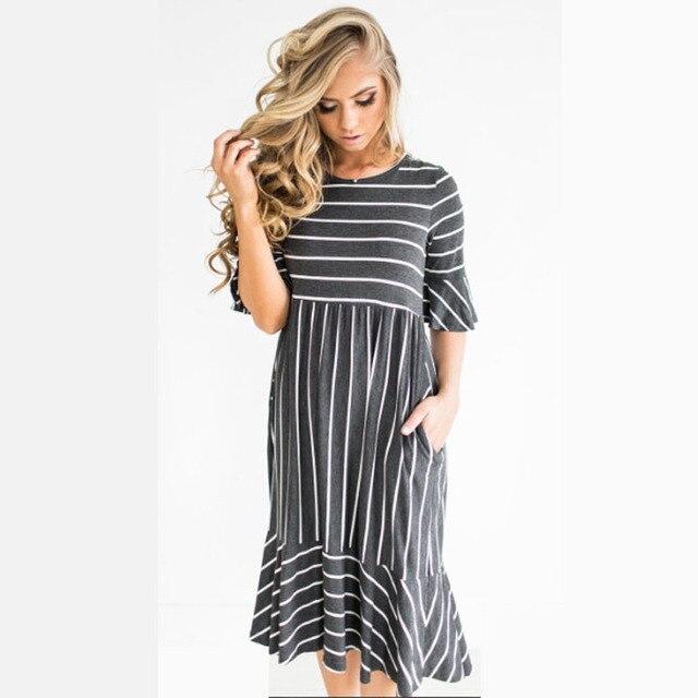 2e190be0b1170 Striped Maternity Dresses For Pregnant Women Vestidos High Waist Pregnancy  Dresses Short Sleeve Summer Dress Maternity Clothes