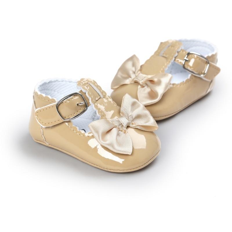 Spring Sweet Baby Girls Princess Style Toddler Kids Bowknot Infant PU Anti-skid Baby Shoes