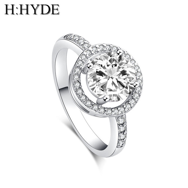 H:HYDE Classic Simple Design 4 Prong Sparkling 1.5ct Cubic Zirconia forever Wedd