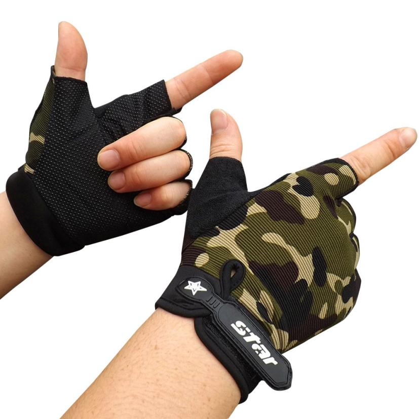 New Hot Men Antiskid Cycling Bike Gym Fitness Sports Half Finger Gloves tactical gloves  ...
