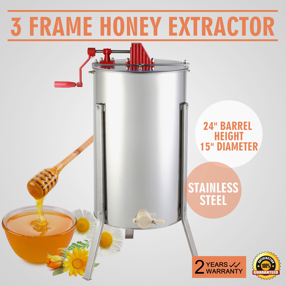 Brand New Large Three 3 Frame Stainless Steel Manual Honey Extractor