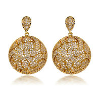 Super Sell Women Luxury Drop Earrings AAA Quality Cubic Zirconia Cadmium Free 18K Gold Plated Bridal