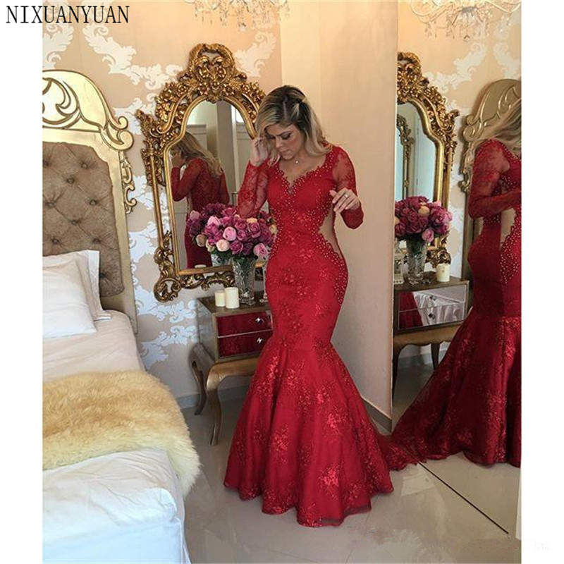 Red 2020 Prom Dresses Mermaid V-neck Long Sleeves Pearls Lace Sexy Party Maxys Long Prom Gown Evening Dresses Robe De Soiree