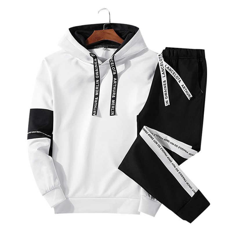 LBL chándal Casual para hombre 2019 ropa deportiva para hombre primavera otoño Conjunto de sudadera con capucha con estampado de letras Moda hombre dos piezas conjuntos