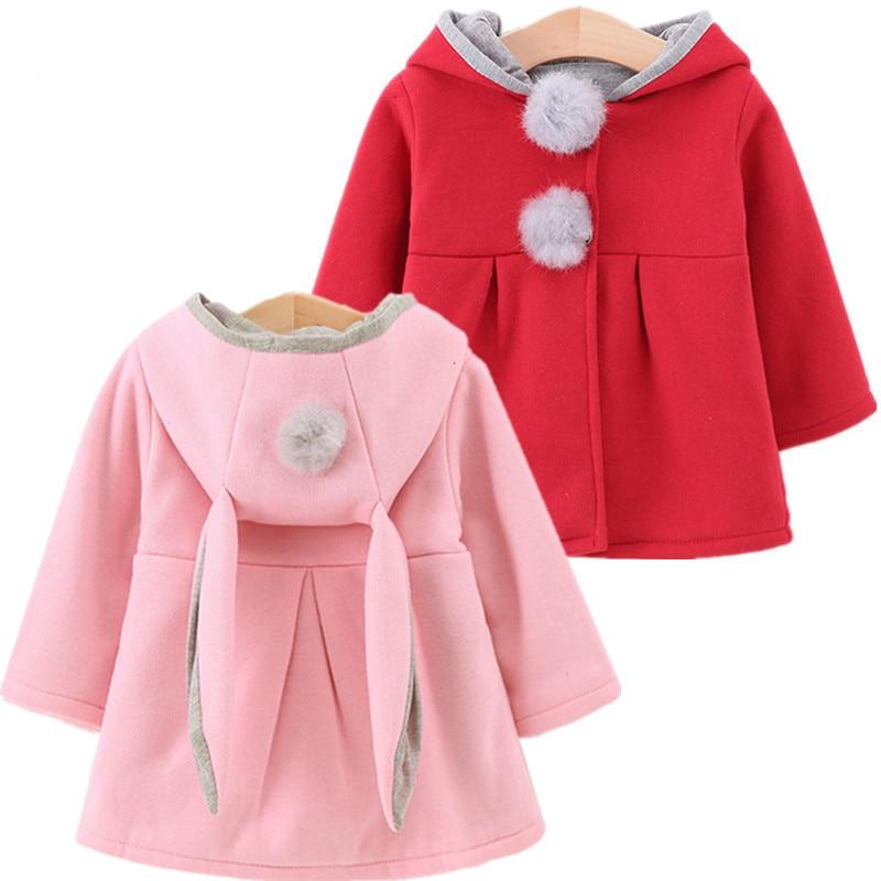 Cute Rabbit Ear Hooded Girls Coats New Spring Top Autumn Winter Warm Kids Jacket Outerwear Children Clothing Baby Tops Girl Coat