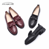 Women genuine leather flat loafers shoes handmade bow black vintage Retro leather casual buckle comfortable loafer oxford shoes