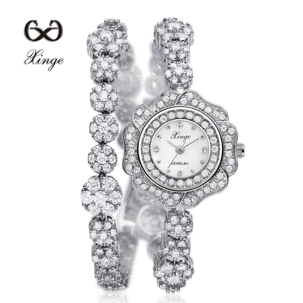 ФОТО Xinge Flower New 2016 Zircon Copper Bracelet Shell Dial Fashion Women Wristwatches Montre Femme 30m Waterproof Watch XG1024