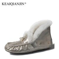 KEAIQIANJIN Woman Fur Snow Boots Shearling Winter Genuine Leather Shoes Fashion Platform Golden Silvery Black Ankle