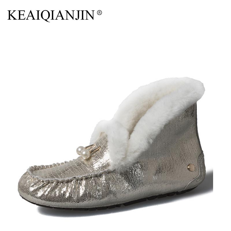KEAIQIANJIN Woman Fur Snow Boots Shearling Winter Genuine Leather Shoes Fashion Platform Golden Silvery Black Ankle Boots 2017 keaiqianjin woman studded snow boots pink black winter genuine leather flat shoes flower platform fur crystal ankle boot 2017