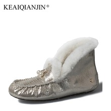 KEAIQIANJIN Woman Fur Snow Boots Shearling Winter Genuine Leather Shoes Fashion Platform Golden Silvery Black Ankle Boots 2017