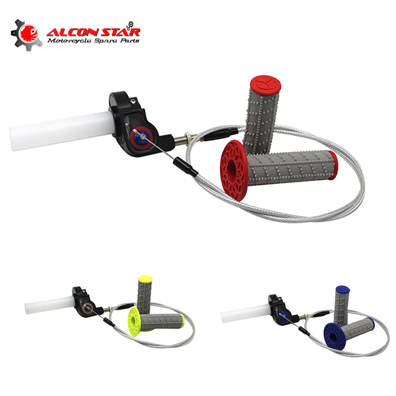 Alconstar- Throttle Visual Grip Quick Twist Gas+Throttle Cable+Handle Grips Fit For Kawasaki KLX KTM DUKE EXC Enduro SX Racing