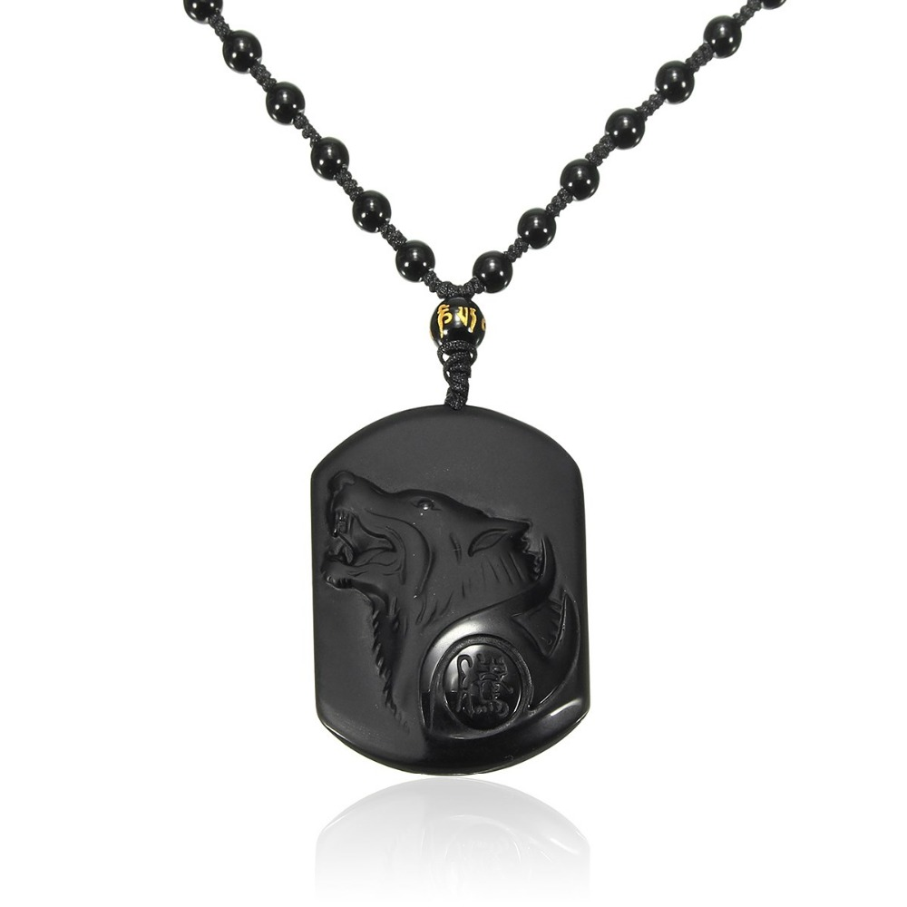 Mibrow Black Obsidian Necklace for Men Amulet Wolf Head Pendants Necklaces Obsidian Blessing Lucky Jewelry Drop Shipping
