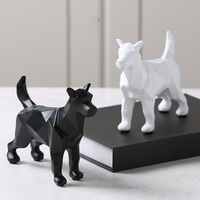 Creative black and White origami Dog ornaments paper folding Resin Animal accessories home furnishing