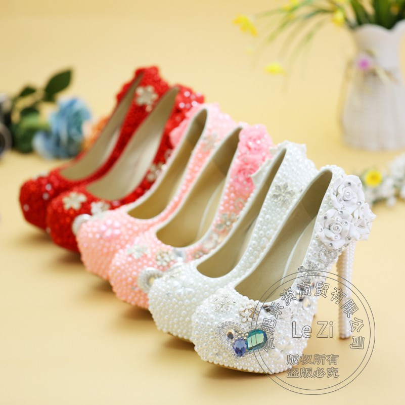 Pearl Wedding Single Shoes White Thin Heel Shallow Mouth Rhinestone Fetish High Heels Pure Color Platform