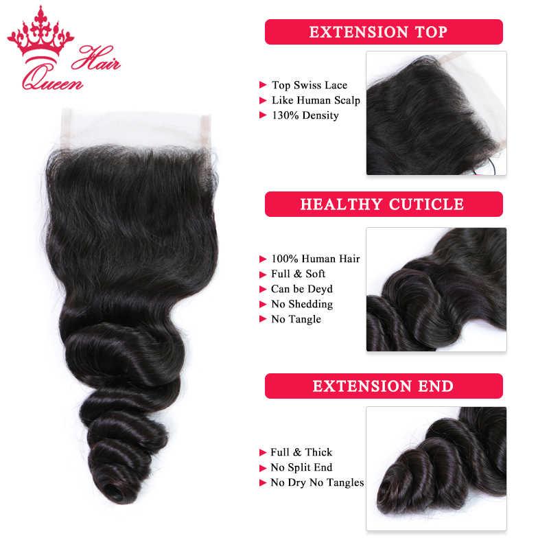 マレーシアルーズウェーブ 3 バンドル閉鎖人間の髪のバンドルにレースクロージャー Remy 毛自然な色 1B クイーン髪有限公司