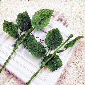 Image 3 - Article 10 PCS (33 cm /) simulation of artificial plastic stem leaves rose stem/silk/wedding decoration holding a rose flower