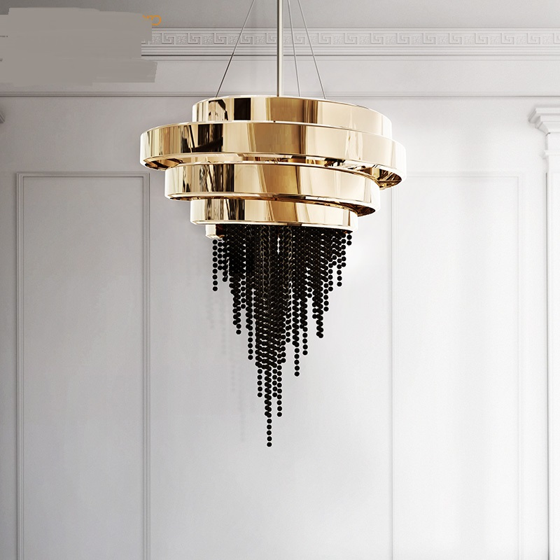 American creative crystal lamp European gold round modern modern style villa living room chandelier LO7196 luxurious crystal pendant lamp the european style living room lamps and lanterns creative bedroom crystal chandelier