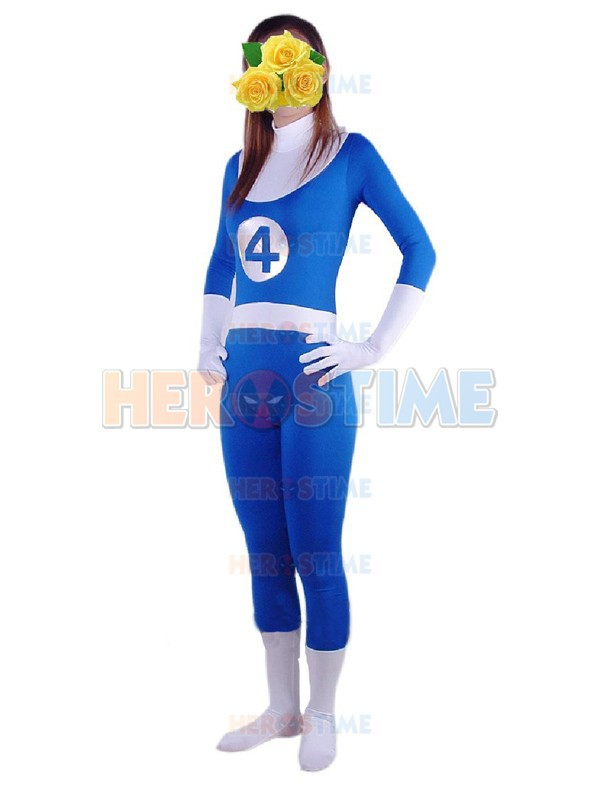 Fantastic Four Costume Online wholesale Spandex Female Halloween Cospaly Fantastic Four Superhero Costume Zentai Suit