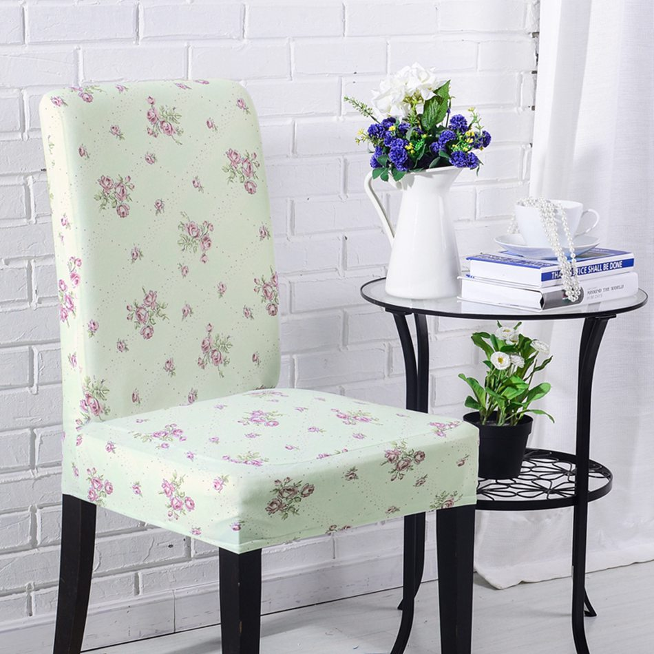 AGTYSNZ Cheap Universal Light Green Dining Room Stool Chair Cover Slipcovers Purple Flowers Print Covers