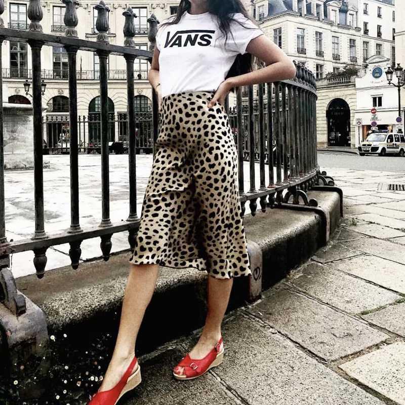 Летняя винтажная юбка с высокой талией леопардовая юбка с принтом женские панк-рок корейский стиль Boho уличная Jupe Femme