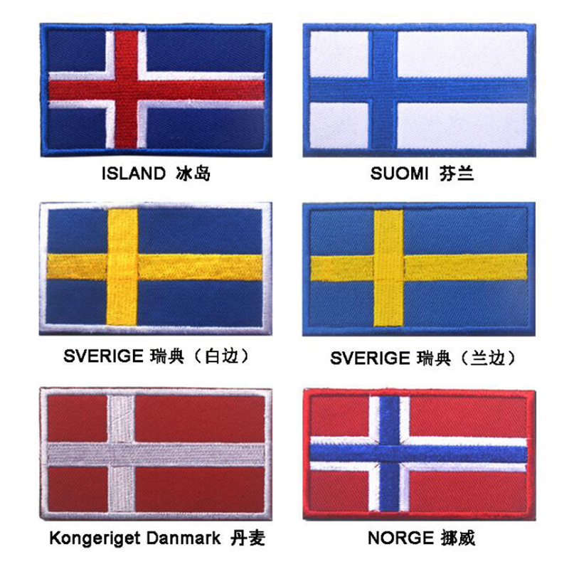 SWEDEN SVERIGE SWEDISH FLAG EMBROIDERED IRON ON PATCH WHOLESALE LOT OF 24 PIECES