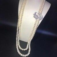 8 9 мм длинные природной пресной воды Жемчужное ожерелье двойные слои 925 серебро с фианит Лебедь ожерелье Nearround 80 см