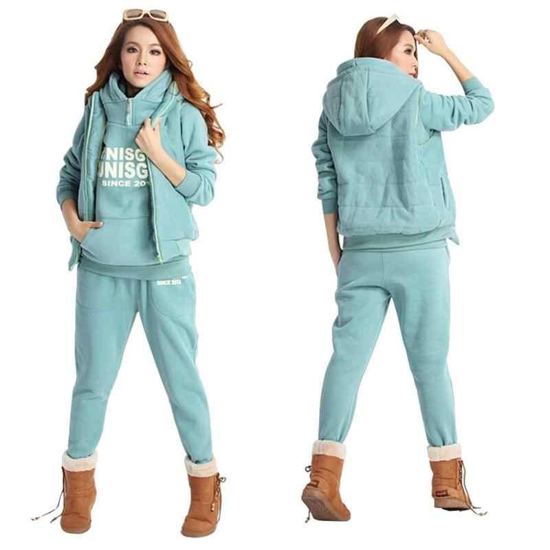 2018 осенне-зимняя женская одежда повседневная толстовка с капюшоном толстый свитер пальто спортивная толстовка из 3 предметов костюм большой размер