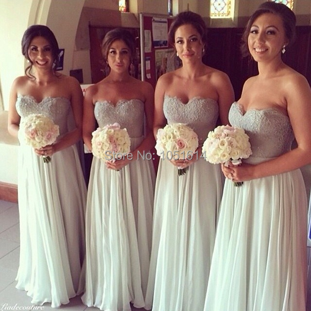 Professional Made A Line Light Grey Chiffon Sleeveless Sweetheart Neckline Embroidered Lace Top Long Maxi Bridesmaid Dress In Dresses From