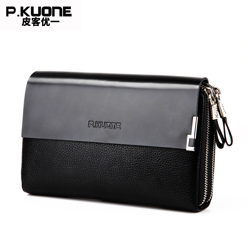 P.KUONE Genuine Leather Clutch Bag Double Zipper 2017 Fashion High Quality Wallets Luxury Brand Purse Men Handbag Card Holder high quality authentic famous polo golf double clothing bag men travel golf shoes bag custom handbag large capacity45 26 34 cm