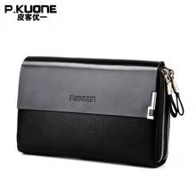 P.KUONE Genuine Leather Clutch Bag Double Zipper 2017 Fashion High Quality Wallets Luxury Brand Purse Men Handbag Card Holder