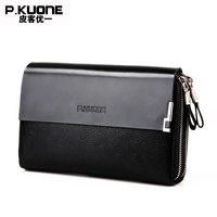 P KUONE Genuine Leather Clutch Bag New Design Fashion High Quality Wallets Luxury Brand Purse Mesenger