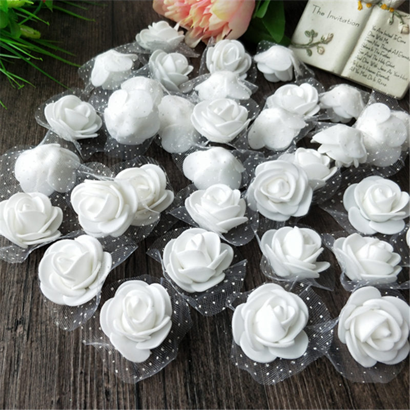 500pcs 3.5cm Foam Roses Flowers Heads Artificial Fake Flowers With Tulle Wedding Bouquet Decoration DIY Rose Bear Accessories