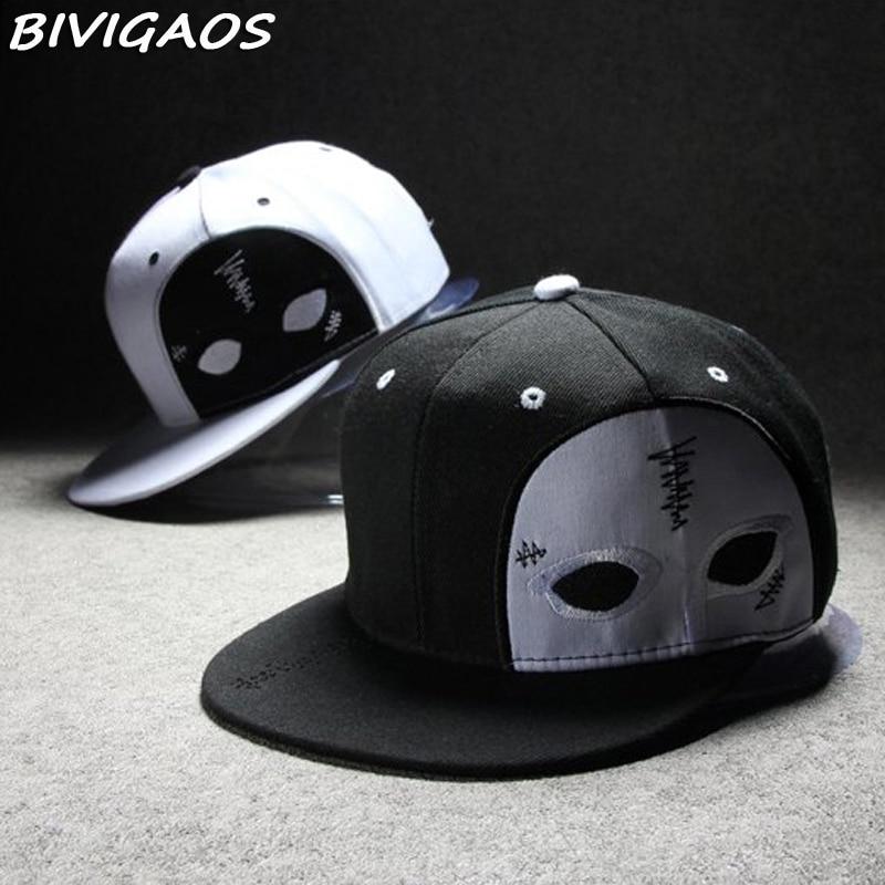 2016 New Fashion Harajuku Men Womens Casual Snapbacks Black White Ghost Face Mask Dance Cap Hip Hop Hats Baseball Caps Men Women