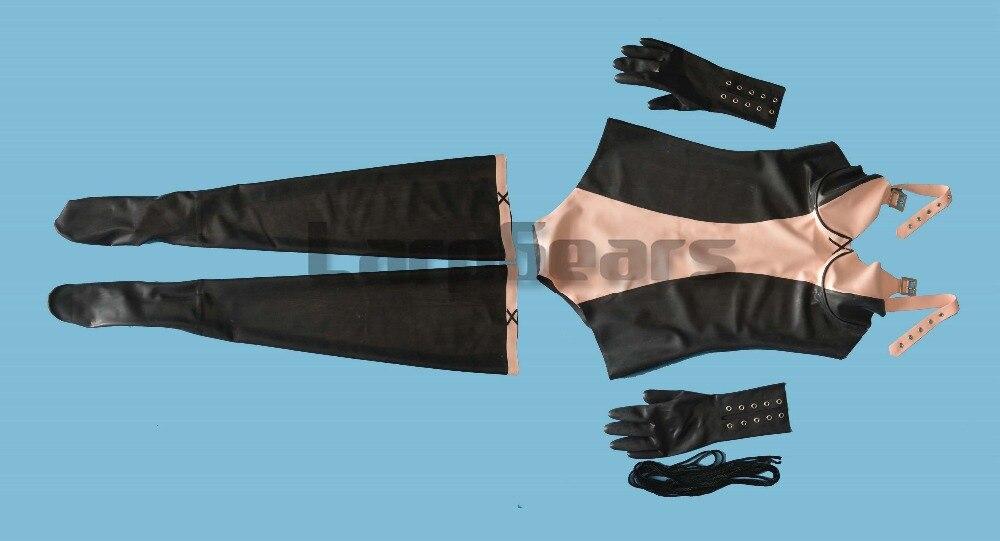 Горячая сексуальная женская черная с белым латексом одежда Боди Комплект включает в себя костюмы перчатки и чулки