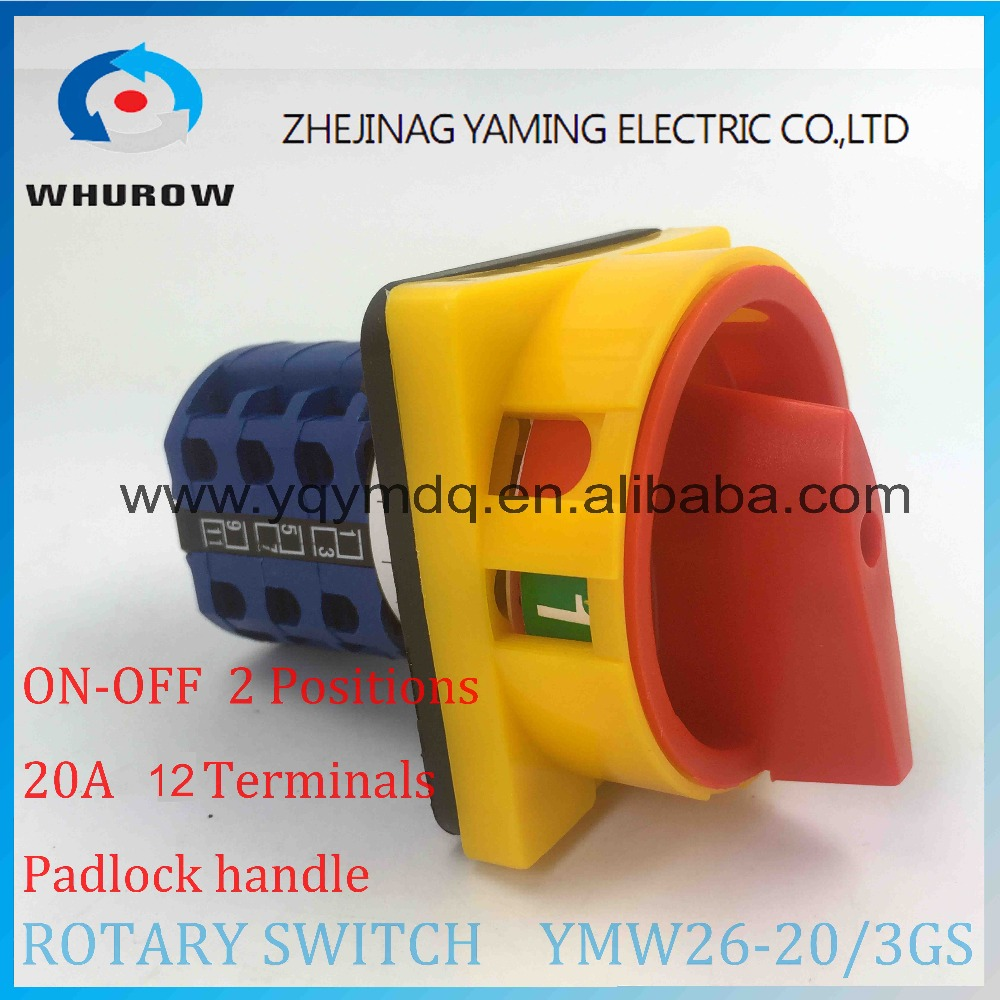 YMW26-20/3GS Rotary switch knob 2 position ON-OFF padlock handle yellow red High quality changeover cam switch 20A 3 phase ui 660v ith 125a on off 2 position rotary cam changeover switch lw28 125 3